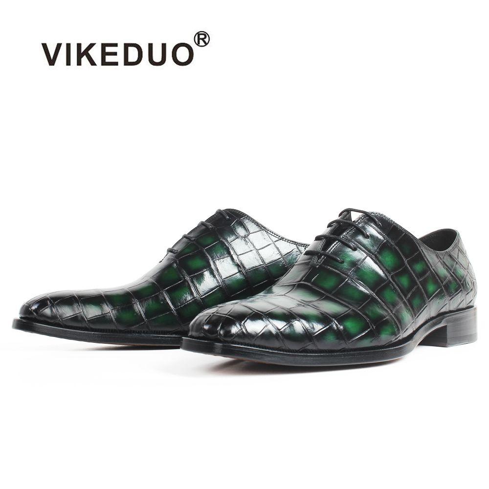 VIKEDUO Patina Grün 100% Krokodil Leder Schuhe Männer Hochzeit Büro Karree Leder Sohle Handgemachte Oxford Kleid Schuhe Zapatos