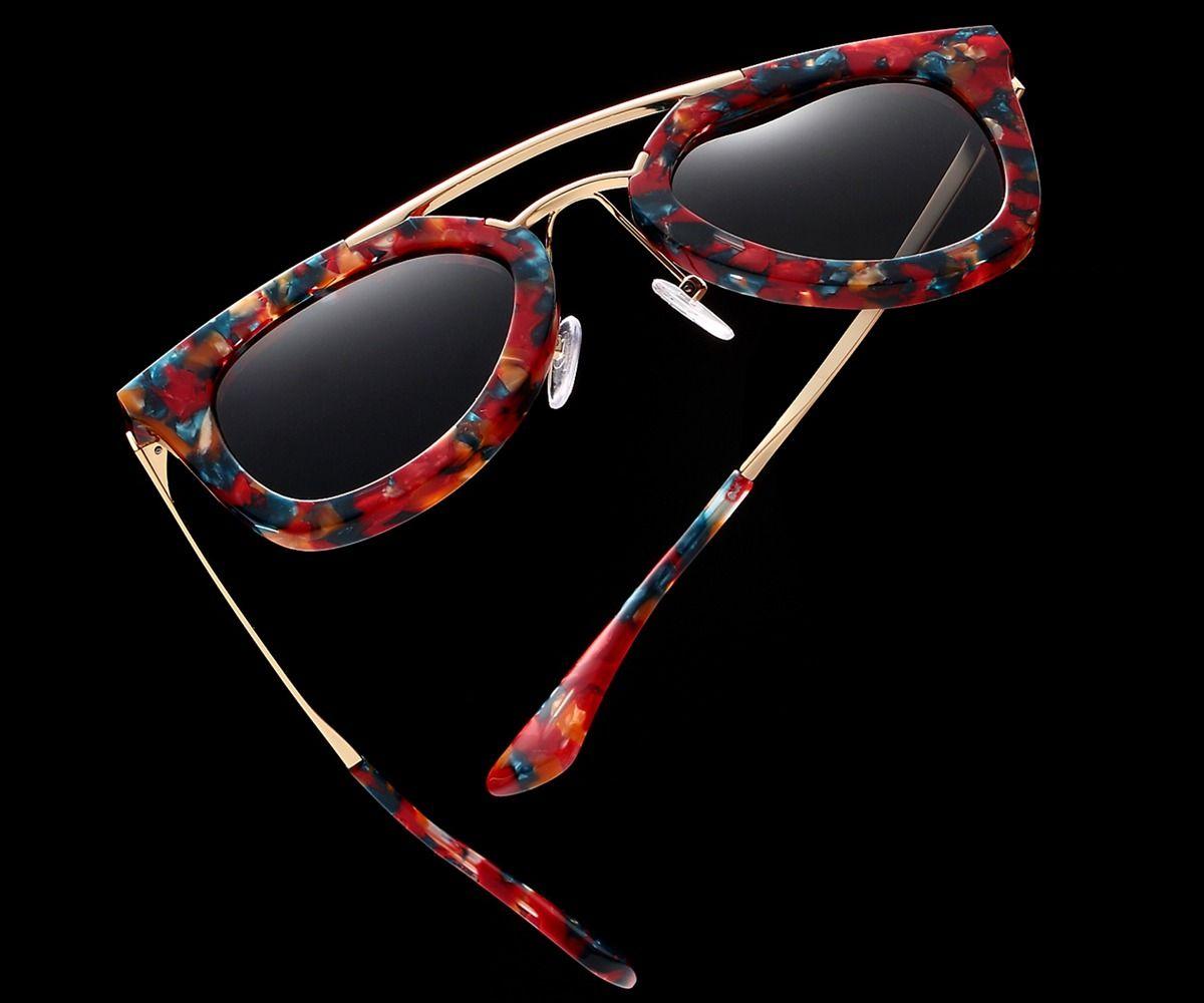 Ручной работы Настоящее ацетат очки солнцезащитные очки для Для женщин высокое качество ручной работы Оригинальный дизайн бренда тенденци...