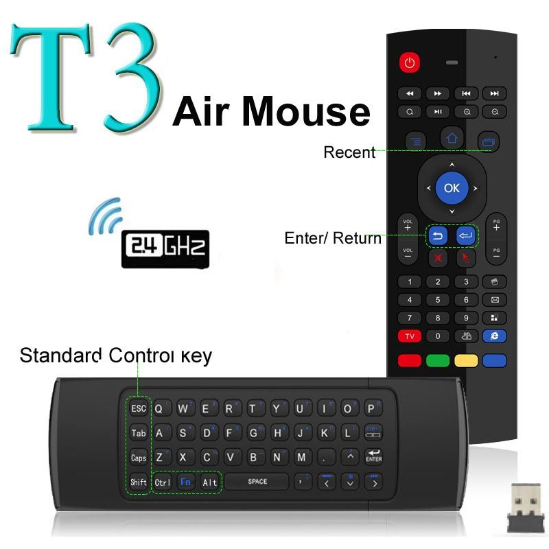 Newest Fly Air Mouse Wireless Mini Keyboard with Mic Remote Control T3 for Android TV Box Media Player Russian Keyboards Option
