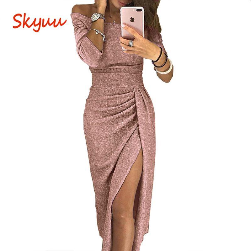 Skyuu Sexy Robe Plus La Taille Hiver Robes Party Night Club 2018 Automne Femmes Avec Fente Dames Robe Slash Long Neck sequin Robe