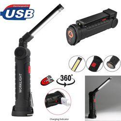 Portable 5 Mode COB lampe de Poche Torche USB Rechargeable LED Travail Lumière Magnétique COB Lanterna Suspendus Tente Lampe Batterie Intégrée
