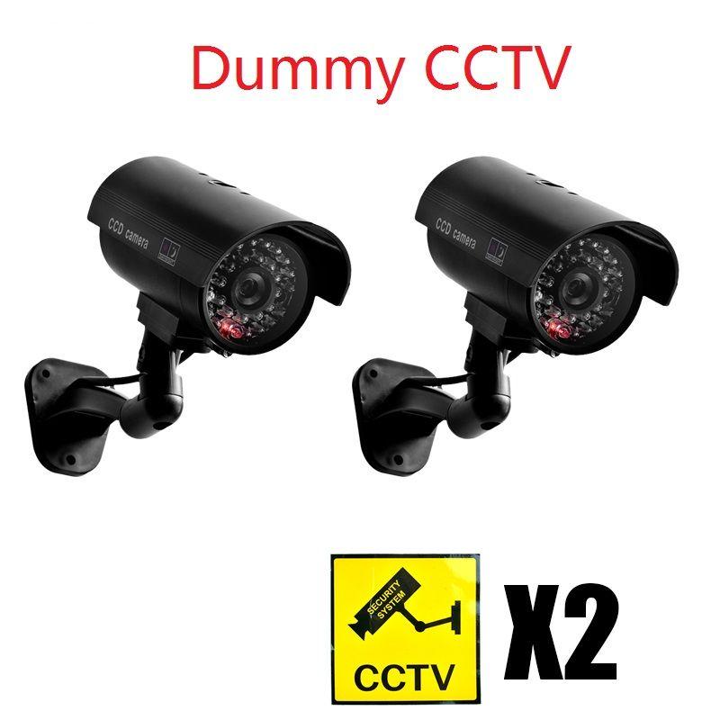 Caméra de vidéosurveillance factice étanche avec LED clignotante pour l'extérieur ou l'intérieur
