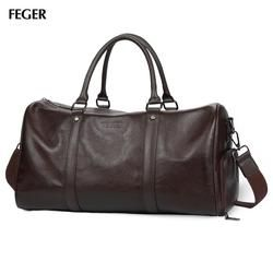 FEGER Genuine Leather Travel Bag Large Capacity Business Duffle Bags Big Weekend Women Luggage handbag Casual Men shoulder Bag