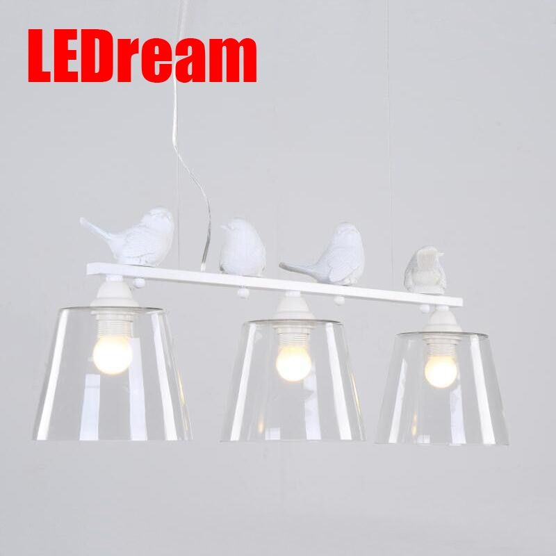 LEDream lovely Northern American contemporary and contract Dining Room Kitchen Home Fixture Resin Bird Glass Lampshade 110-220V