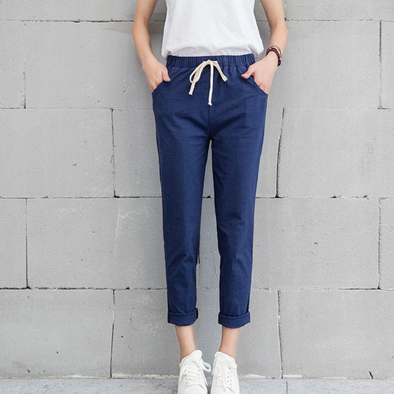 2019 Chic loisirs coton lin Long pantalon femmes élastique taille poches lâche pantalon grande taille 2XL pantalon décontracté loisirs pantalon