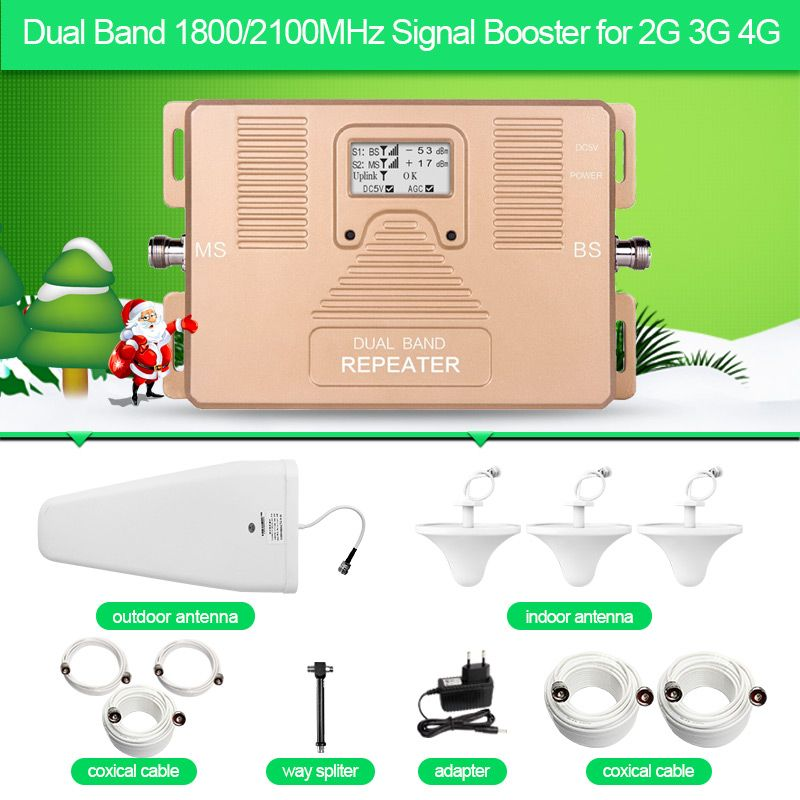 ATNJ dual band repeater 1800/2100mhz 2G 3G 4G phone signal booster with LCD screen include 3 indoor antenna