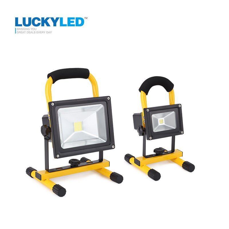 LUCKYLED 10W 20W Floodlight Rechargeable LED Flood Light Lamp portable Outdoor Spotlight Camping Work Light with DC Car Charger