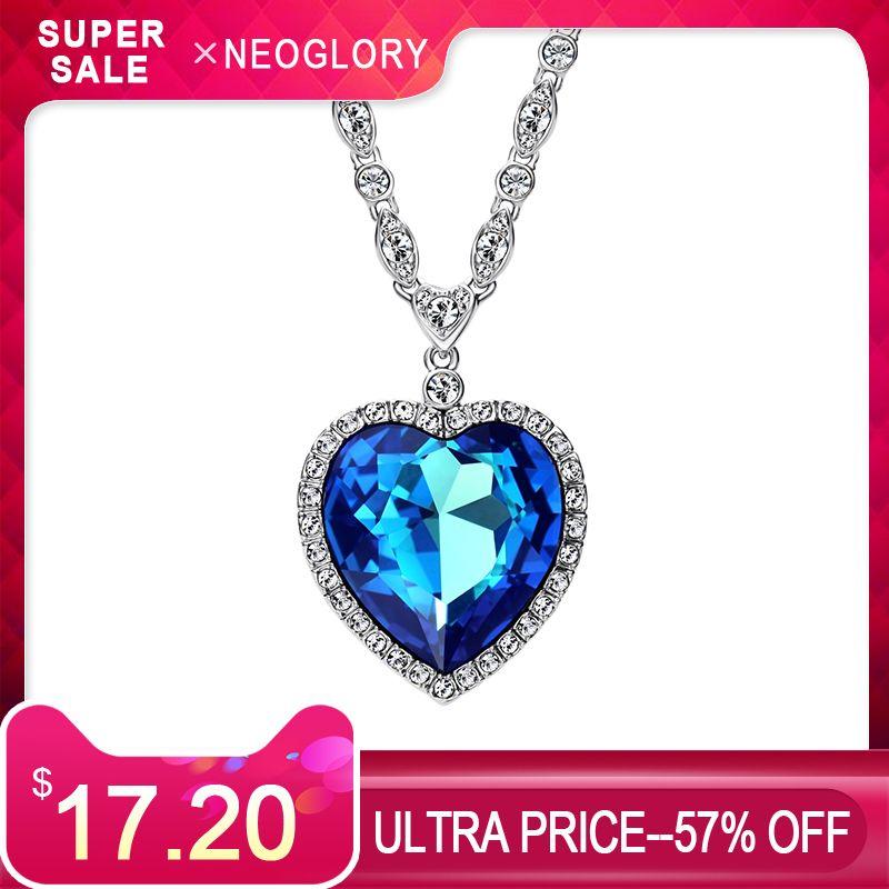 Collier pendentif à breloque longue en cristal et strass Neoglory avec cœur d'amour romantique orné de cristaux de Swarovski