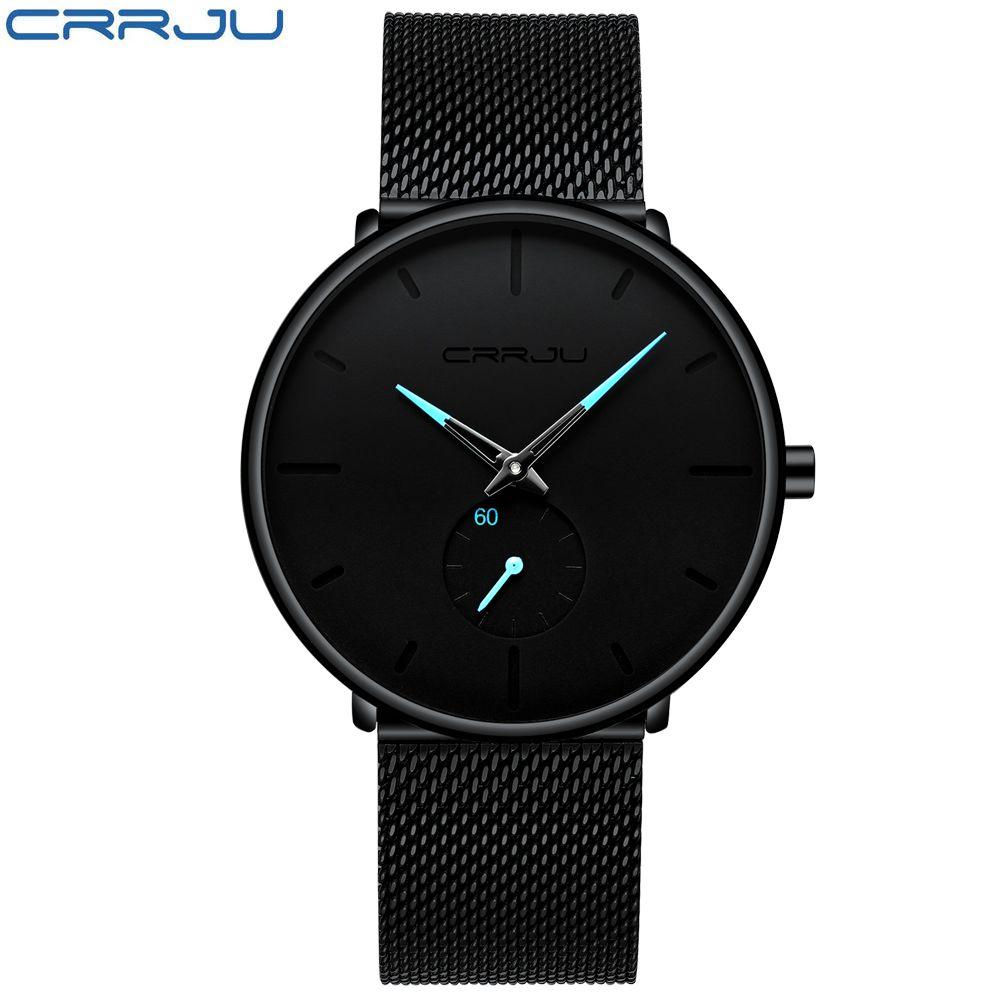 CRRJU Quartz Watch men Casual Black Japan quartz-watch stainless steel Face ultra thin clock male Relogio 2150 Hot Sale