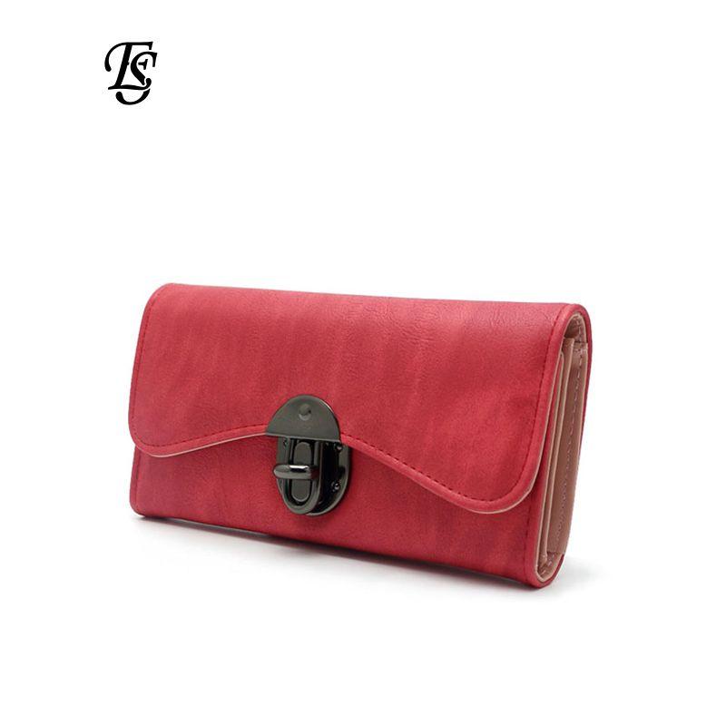 Vintage mode femmes portefeuille 2018 décontracté PU cuir Long portefeuille embrayage sac à main de haute qualité métal moraillon femmes portefeuilles et sacs à main