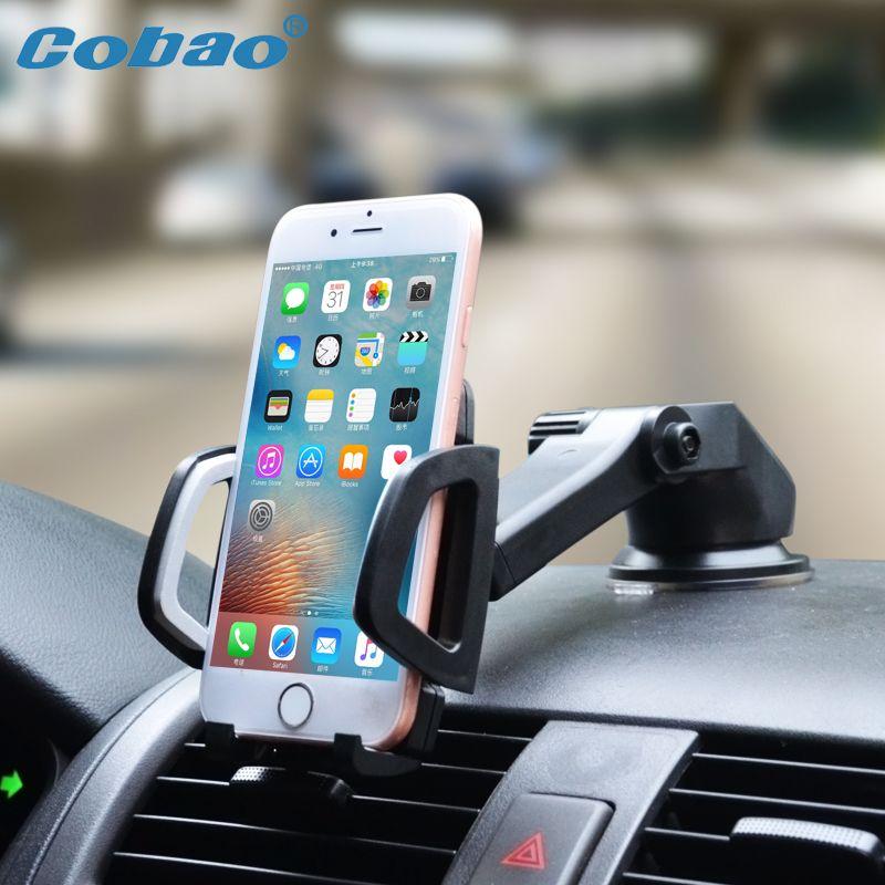 Cobao Universel Support de téléphone portable pour voiture Support Tableau De Bord Pare-Brise Portable Collant Support pour téléphone pour iPhone Support Samsung GPS