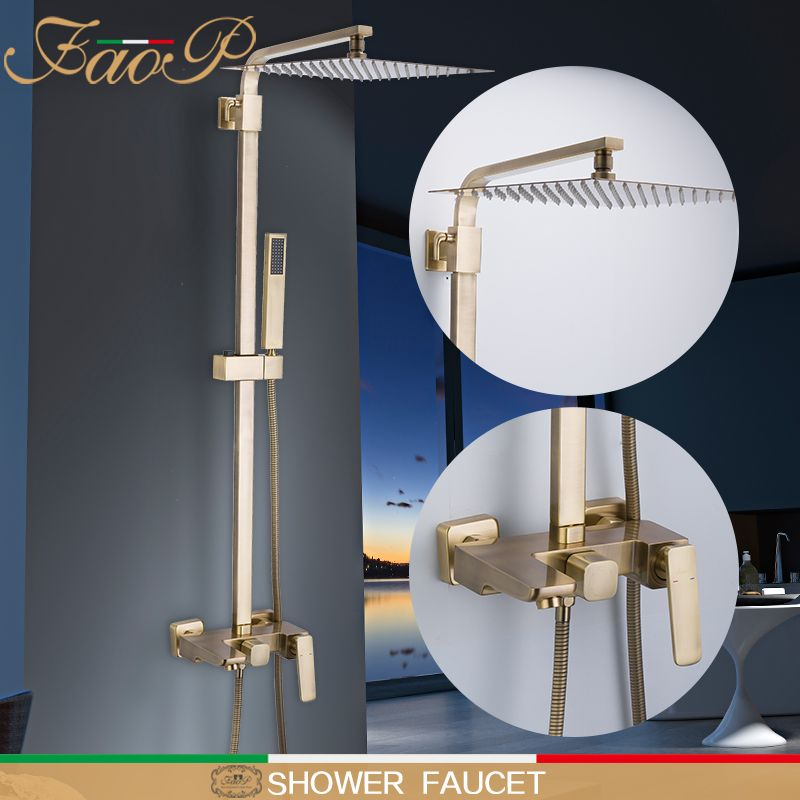 FAOP Dusche wasserhahn wasserfall regen badezimmer dusche sets torneira tun anheiro goldene wasserfall dusche köpfe Massage Duschen