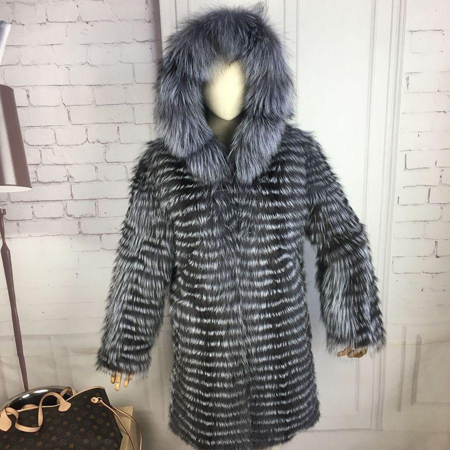 CNEGOVIK New fashion silver fox fur coat with hood fur coat silver fox real fur coat 90cm length women red fox fur jacket