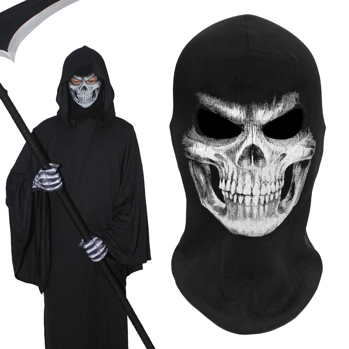 Military Army Death Grim Reaper Ghost Skull Skeleton Hats Tactical Balaclava Halloween Snowboard Cosplay Costume Full Face Mask