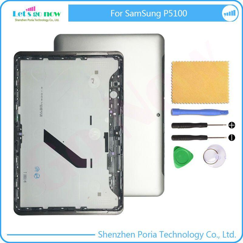 FLPORIA Véritable Pour Samsung GALAXY Tab 2 P5100 Cas de Batterie Logement de Couverture Arrière Blanc/Gris Avec Des Outils Libres
