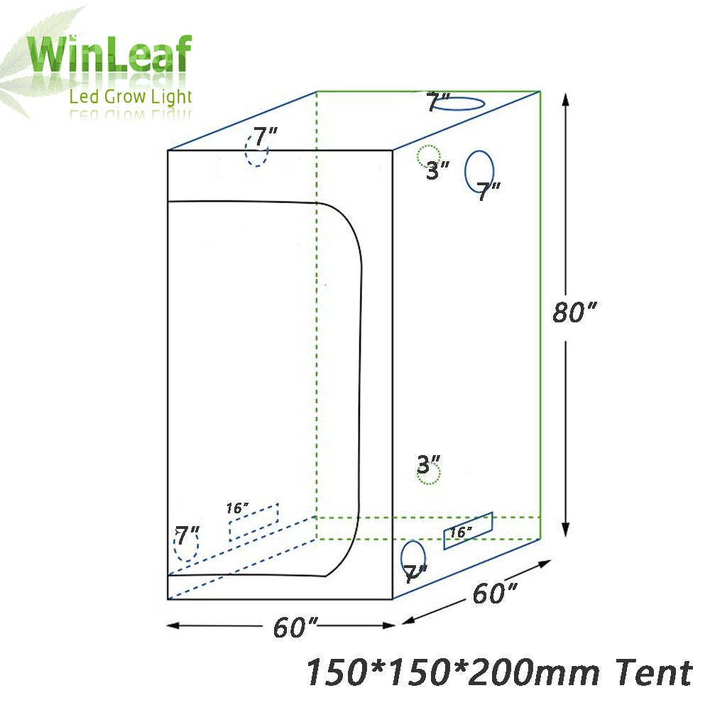 grow tent indoor Hydroponic greenhouse 150*150*200 Room Box Plant Growing, Reflective Mylar Non Toxic Garden Greenhouses
