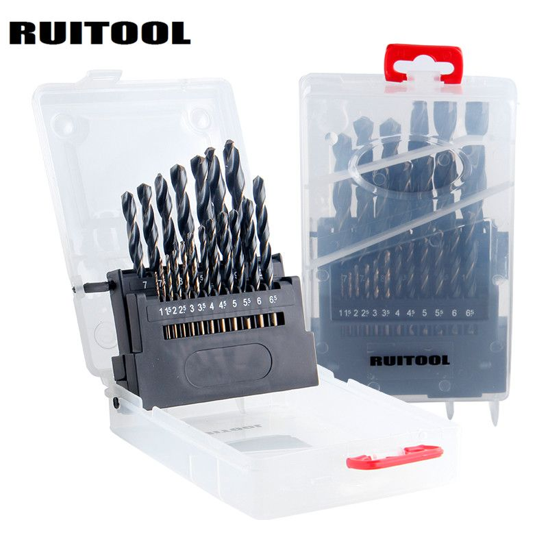 RUITOOL Drill Bit Set 1-10mm/1-13mm HSS6542 Metric Drill Bits Round Shank For Stainless Steel Iron Wood