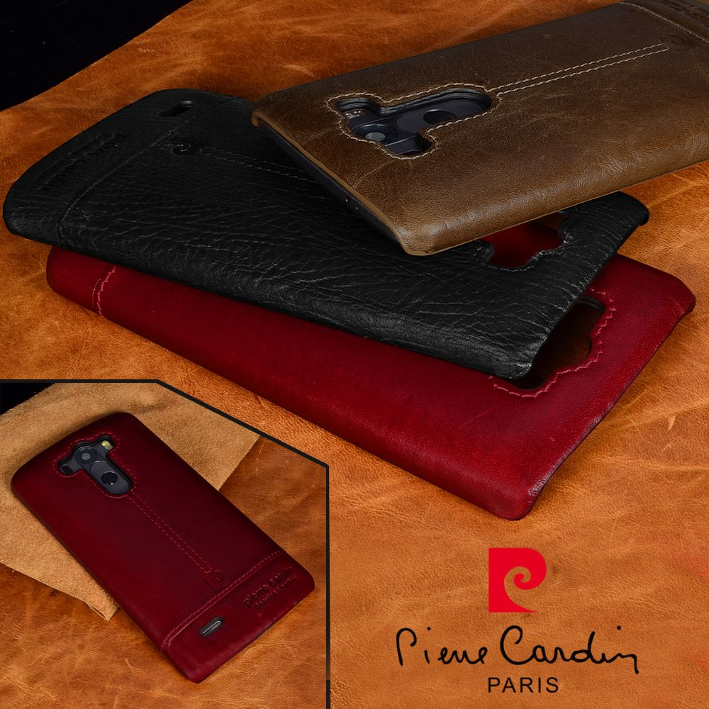Pierre Cardin Hot Sale Brand Genuine Leather Hard Back Cover For LG G4 G5 G6 G7 V20 V30 Luxury Leather Phones Case Free Shipping