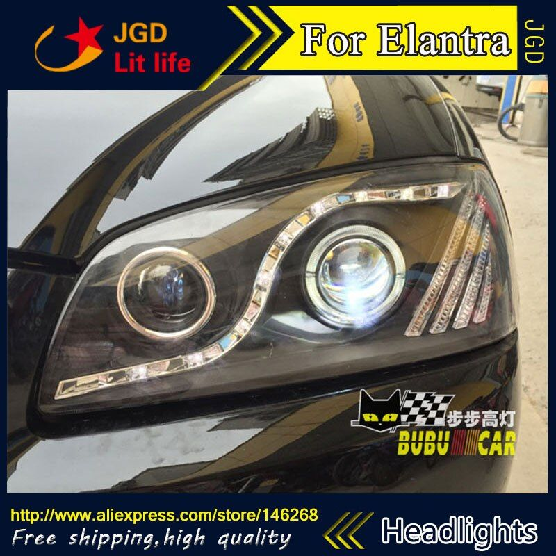 Free shipping ! Car styling LED HID Rio LED headlights Head Lamp case for Hyundai Elantra 2004-2010 Bi-Xenon Lens low beam