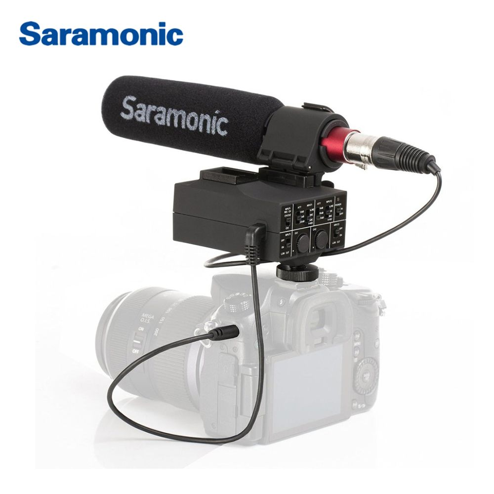Saramonic MixMic Shotgun VIDEO Microphone with Integrated 2-Channel XLR Audio Adapter for DSLR Cameras & Camcorders