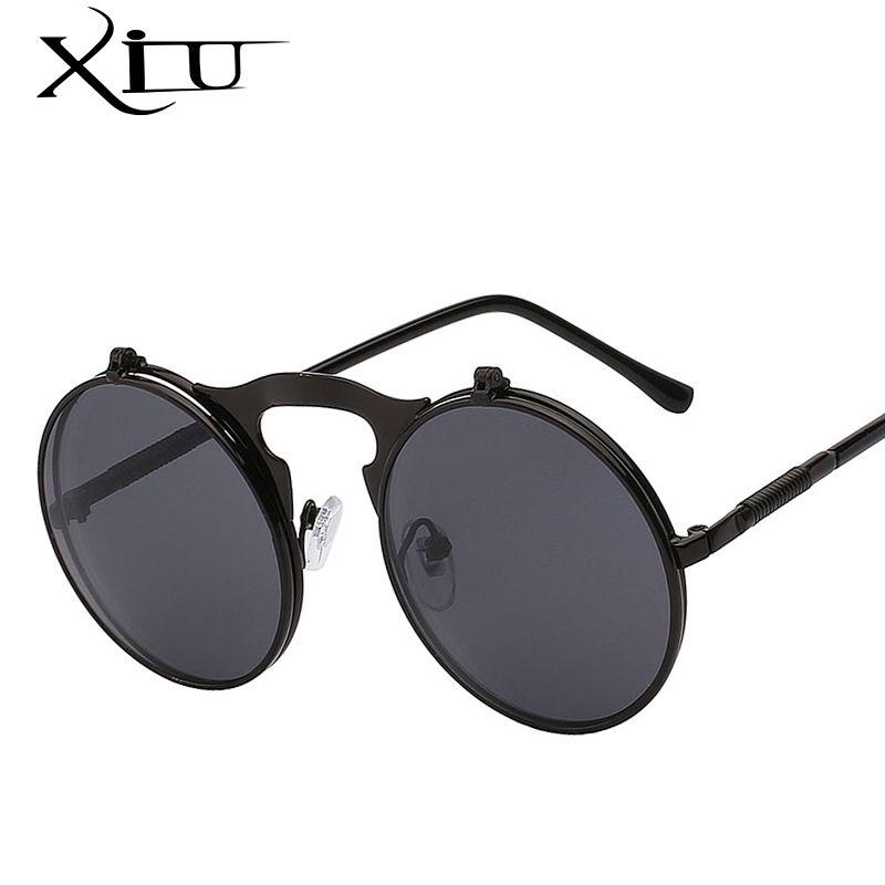 XIU Flip Up Steampunk Sunglasses Men Round Vintage Mens Sunglass Brand Designer Fashion Glasses UV400