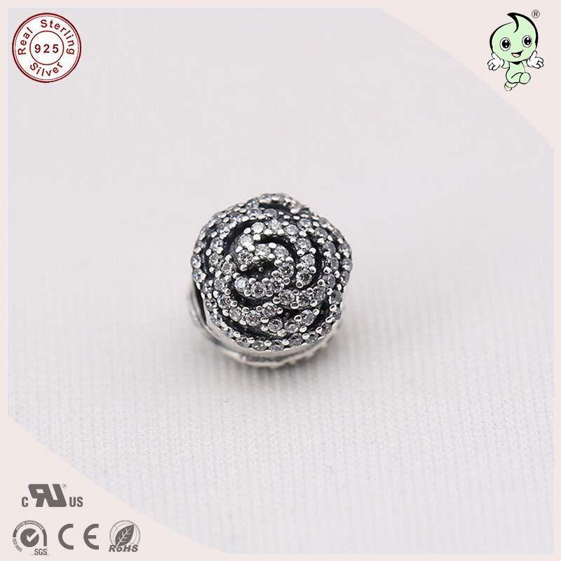 High Quality Full Stone Paving 925 Sterling Silver Rose Flower Charm Clip Stopper Fitting European Famous Silver Bracelet