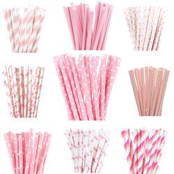 New 25pcs/lot Light Pink Paper Straws For Cupcake Flags Kids Birthday Wedding Cake Decoration Party Event Supply
