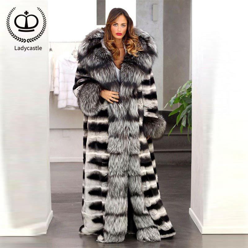 2018 New Real Fox Fur Coat Full Pelt Chinchilla Rex Rabbit With Big Sliver Fox Fur Collar And Sleeve X-Long Coat Winter FC-006