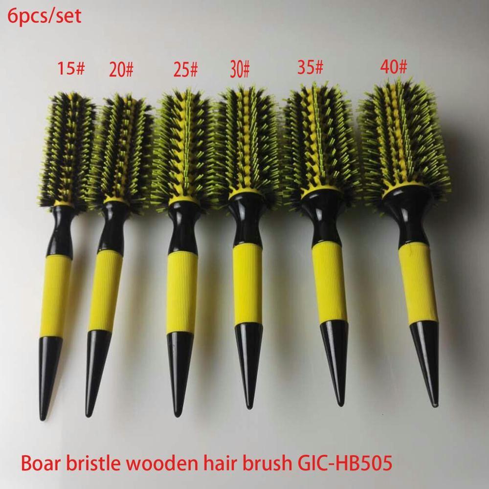 Livraison gratuite brosse à cheveux en bois avec soies de sanglier mélange Nylon outils de coiffage professionnel brosse à cheveux ronde GIC-HB505 (6 pièces/ensemble)