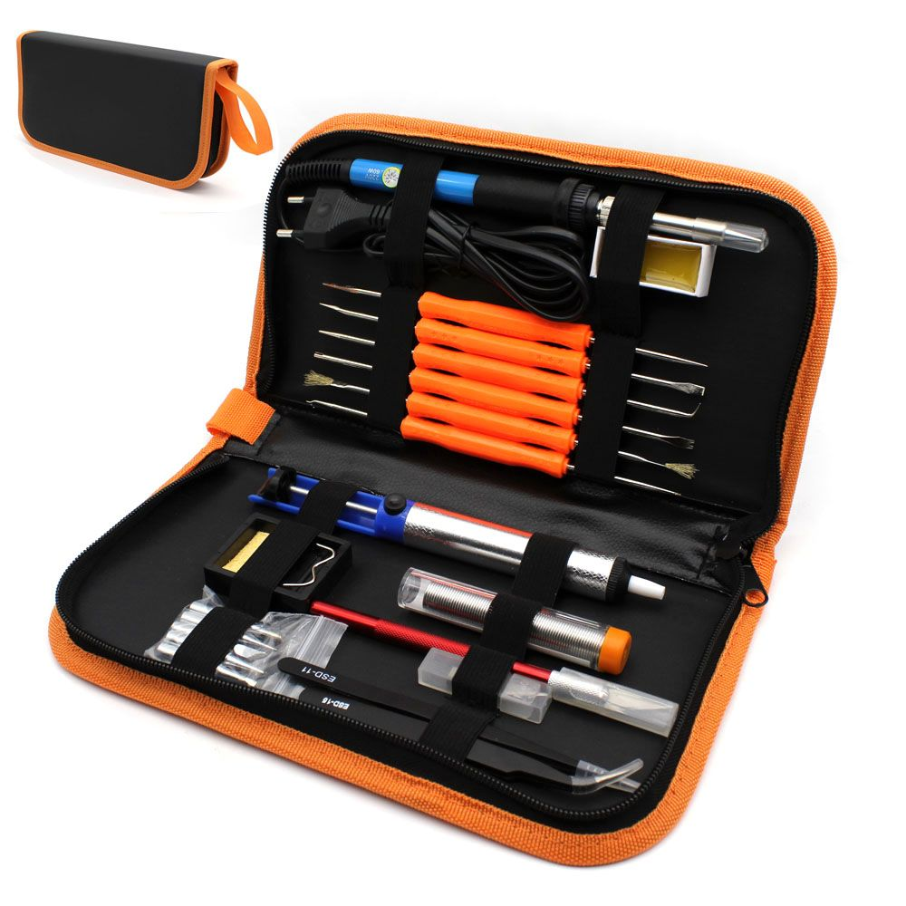 EU Plug <font><b>220V</b></font> 60W Adjustable Temperature Electric Soldering Iron Kit+5pcs Tips Portable Welding Repair Tool Tweezers Hobby knife