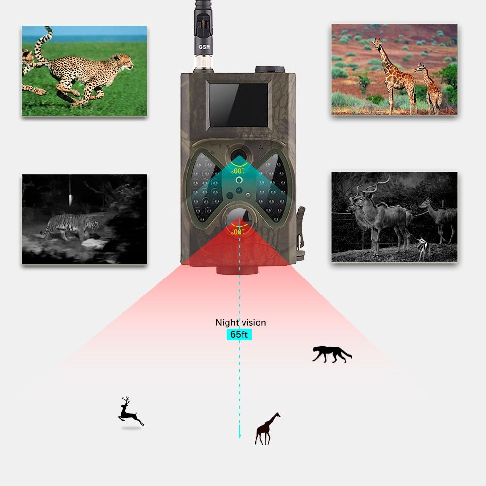 HC 300M Hunting Game Camera MMS Photo trap HD Scouting Infrared Outdoor Hunting Trail Video Camera black IR night vision camera