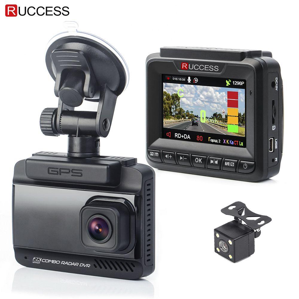 Ruccess 3 in 1 Car Radar Detector DVR Built-in GPS Speed <font><b>Anti</b></font> Radar Dual Lens Full HD 1296P 170 Degree Video Recorder 1080P