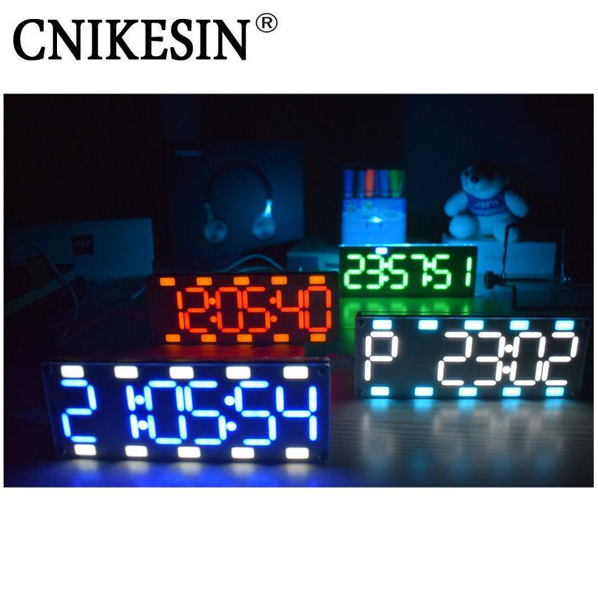 CNIKESIN DIY 6 Chiffres LED Grand Écran Deux-Couleur Numérique Tube De Bureau Horloge Kit Tactile Contrôle