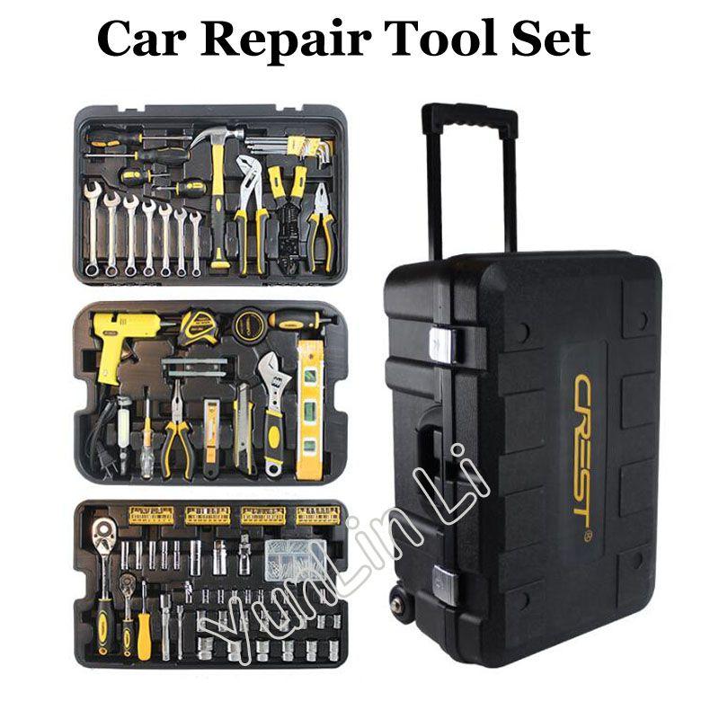 255 teile/satz Reparatur Werkzeug Set mit Rädern Fahrzeug Werkzeug Box Schlüssel Buchse Ratsche Schraubendreher Messer Hand Tool Set 105255
