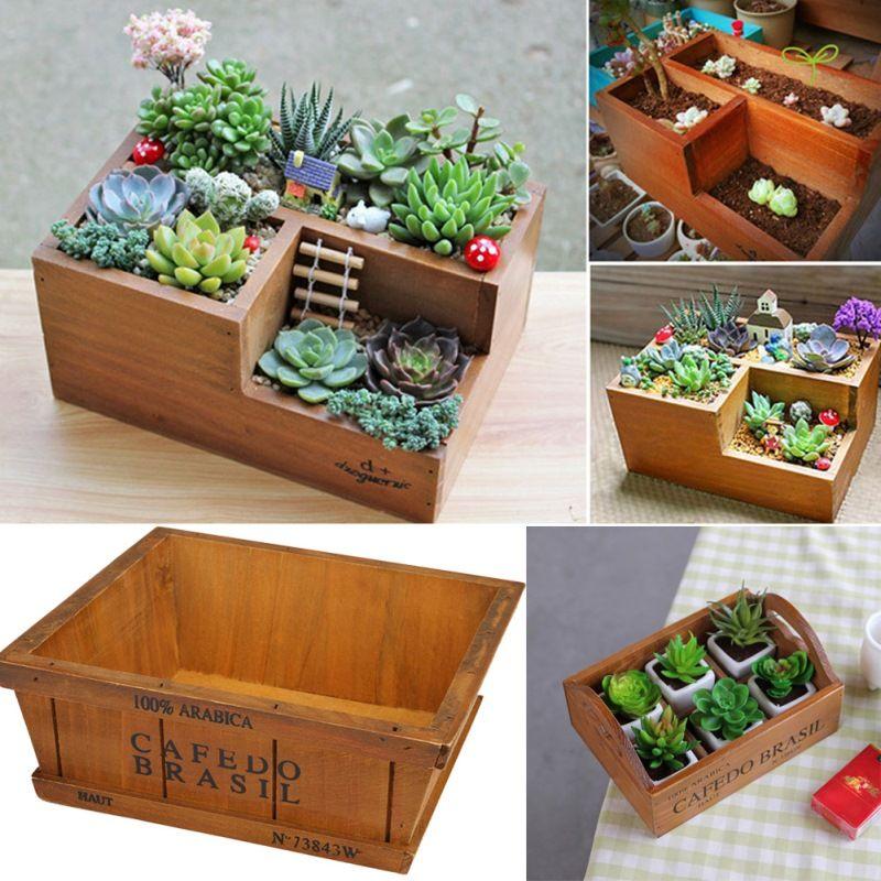 Planteur de jardin En Bois Pot pour Succulent Fleur Plantes Fenêtre Boîte En Bois Boîtes À Fleurs Creux Pot Plantes Jardin Fournitures