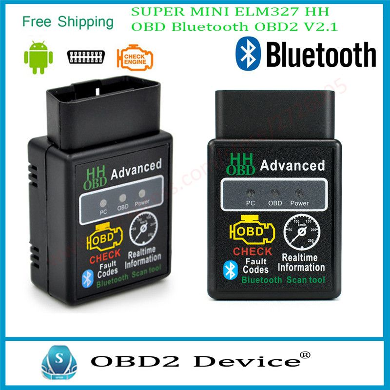 Powerful Super 2017 MINI ELM327 HH OBD Bluetooth OBD2 V2.1 Black Smart Car Diagnostic Tool For Android Windows Free Delivery