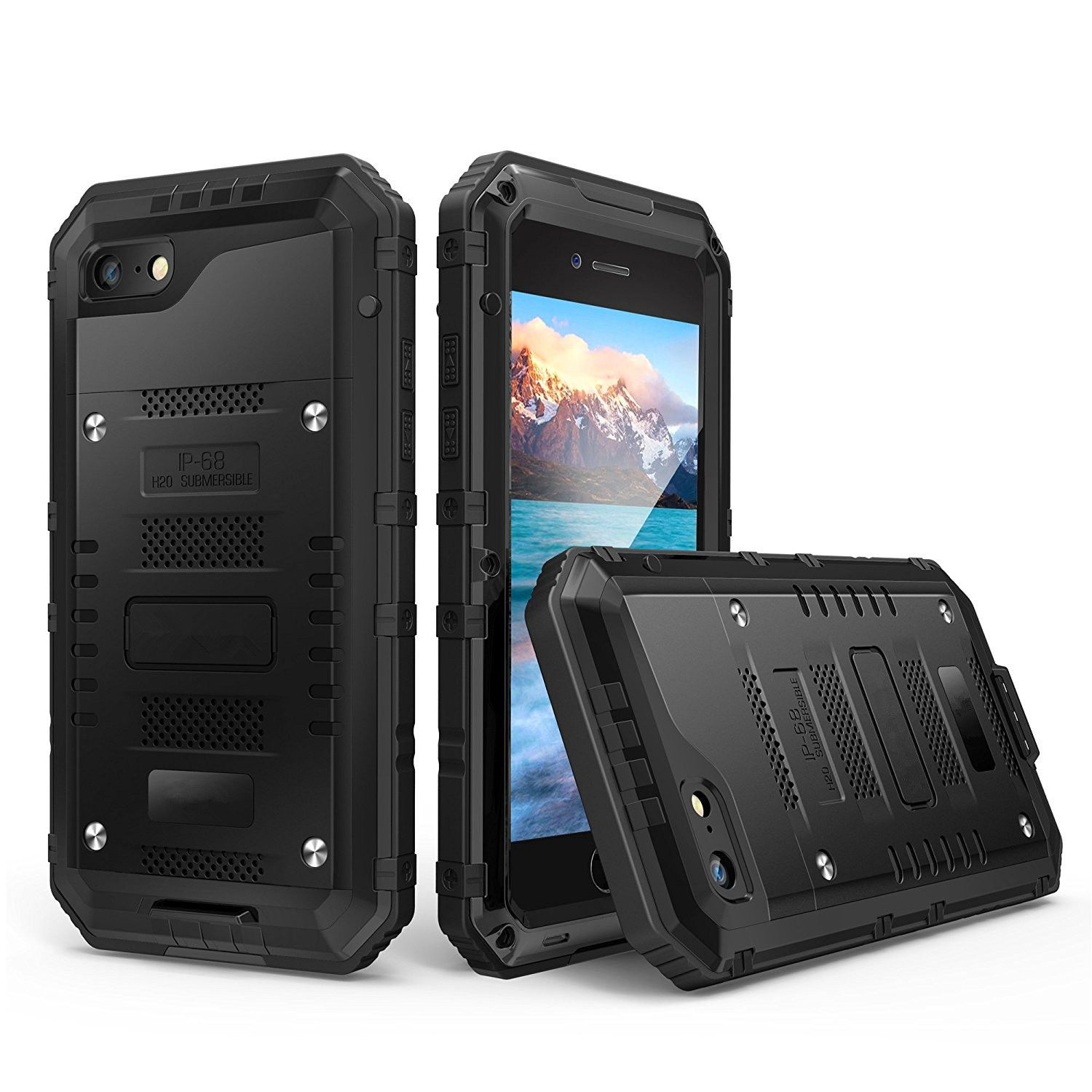 Shockproof Waterproof <font><b>IP68</b></font> Heavy Duty Hybrid Tough Rugged Armor Metal Phone Case for iPhone X 8 7 6 6s Plus 5 5s SE Cover Coque