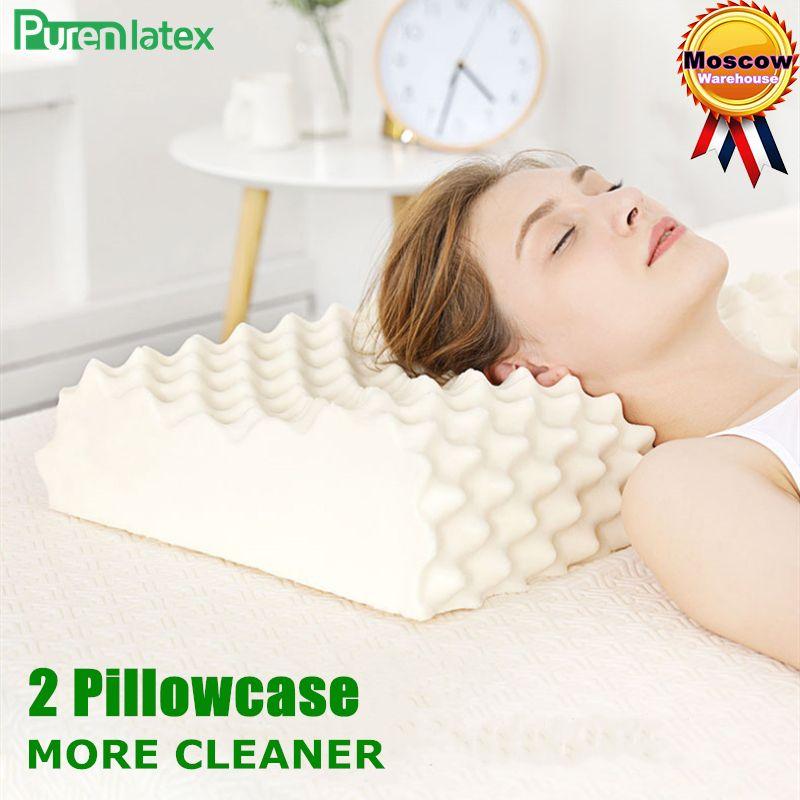 PurenLatex 60x38 thaïlande pur Latex naturel orthopédique oreiller cou Cervical protecteur colonne vertébrale Massage correctif oreillers corporels