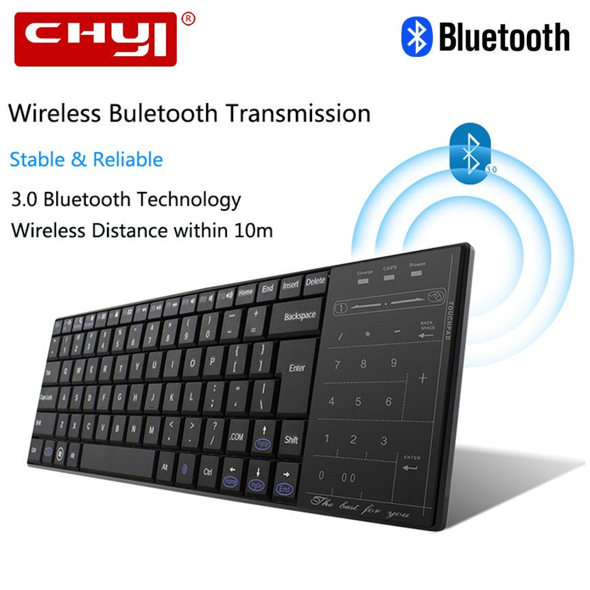CHUYI Utra-mince Clavier Sans Fil Bluetooth Clavier Étanche Tochpad Gaming Clavier Pour Windows IOS Android Téléphone PC Tablet