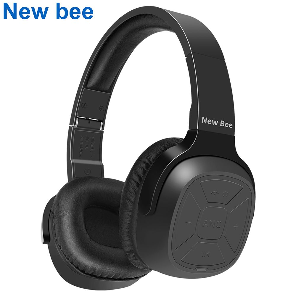 New Bee Active Noise <font><b>Cancelling</b></font> Wireless Bluetooth Headphone ANC Stereo Foldable Headset with Microphone for Phone PC TV