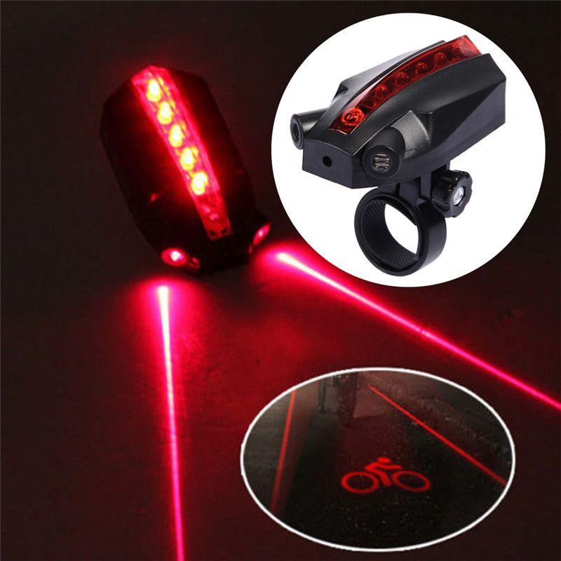 5 LED 2 Lasers 4 Modes Vélo Feu Arrière de Vélo Imperméable À L'eau Clignotants Avertissement de Sécurité Lumière Arrière Lampe pour VTT Route vélo
