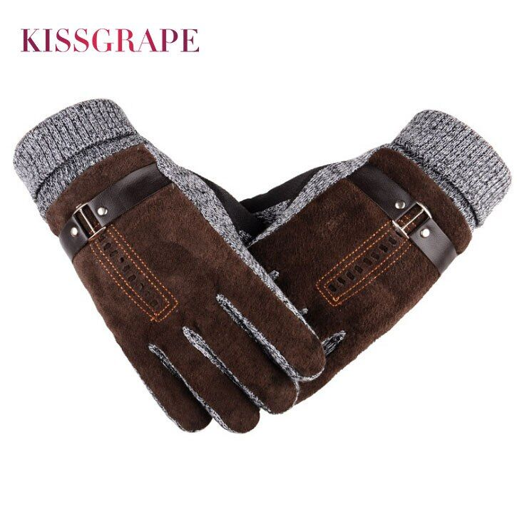 2017 Winter Men's Warm Gloves Natural Suede Leather Gloves Mittens Male Thick Thermal Leather Gloves Men Knitted Guantes