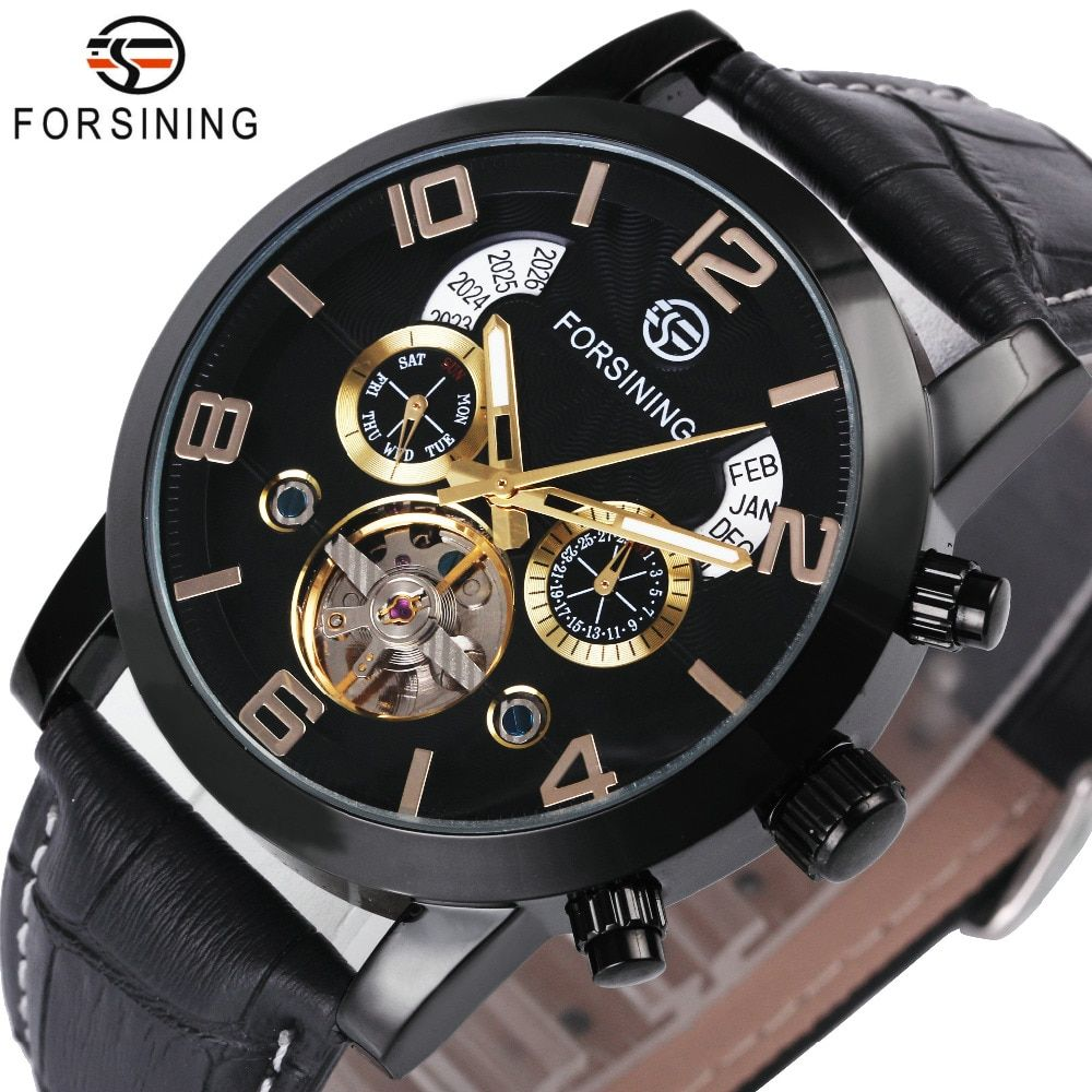 FORSINING Wrist Watch Men 2018 Top Brand Luxury Male Famous Clock Automatic Mechanical Watches Calendar Date Tourbillon + BOX