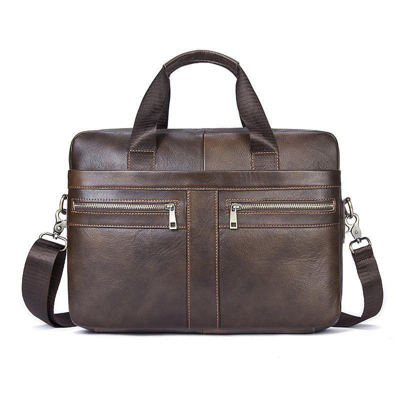 Genuine Leather Business Briefcase Handbag Vintage Men men shoulder Crossbody bags High Quality Laptop Bag Male Leisure bags