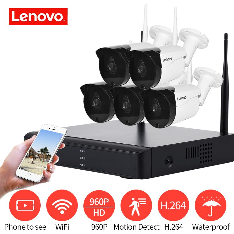 LENOVO 5CH Array HD Wireless Security Camera System DVR Kit 960P WiFi camera Outdoor HD NVR night vision Surveillance camera