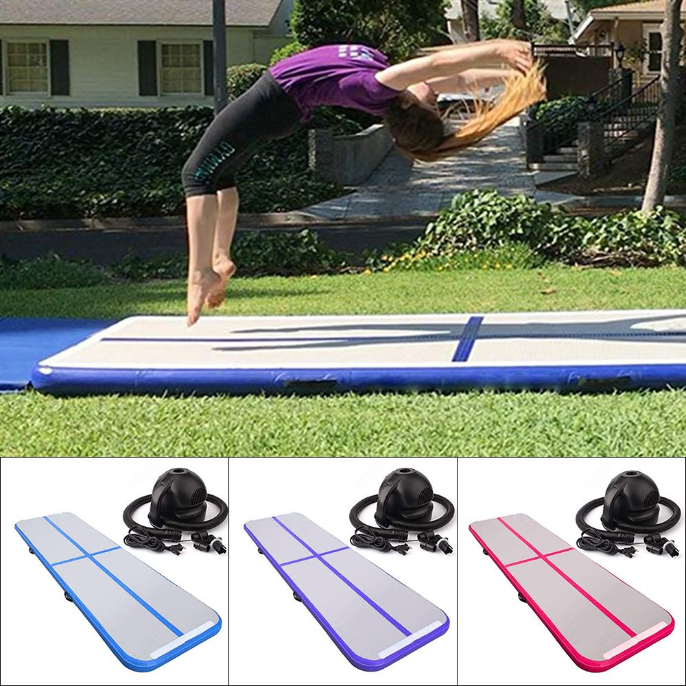 Home Use Gymnastic Inflatable Mattress Portable AirTrack Tumbling Air Track Floor Trampoline Taekwondo with Electric Air Pump