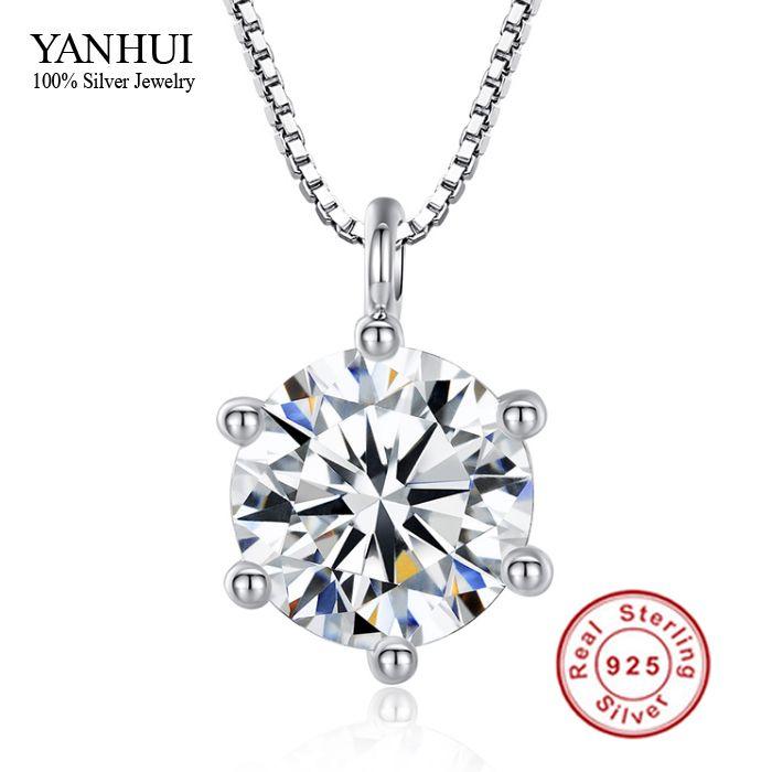 Promotion!!! Fine Bijoux Coeurs et Flèches 8mm 2 Carat CZ Diamant Pendentif Collier 925 Collier En Argent Sterling Femmes BKN001