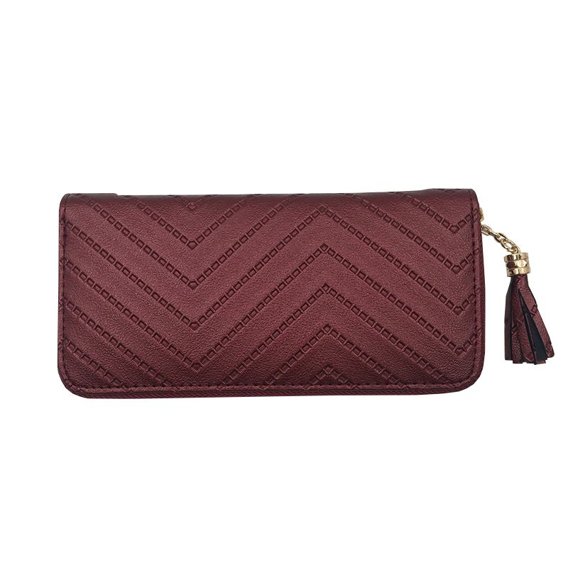 2017 long luxury brand designer women wallet clutch high quality leather tassel women purse with zipper card holder Cash Receipt