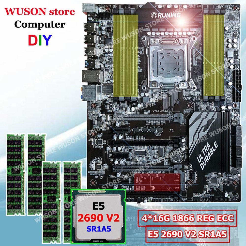 Neue ankunft Runing ATX X79 super motherboard prozessor Intel Xeon E5 2690 V2 3,0 GHz SR1A5 speicher 64G (4*16G) 1866MHz REG ECC