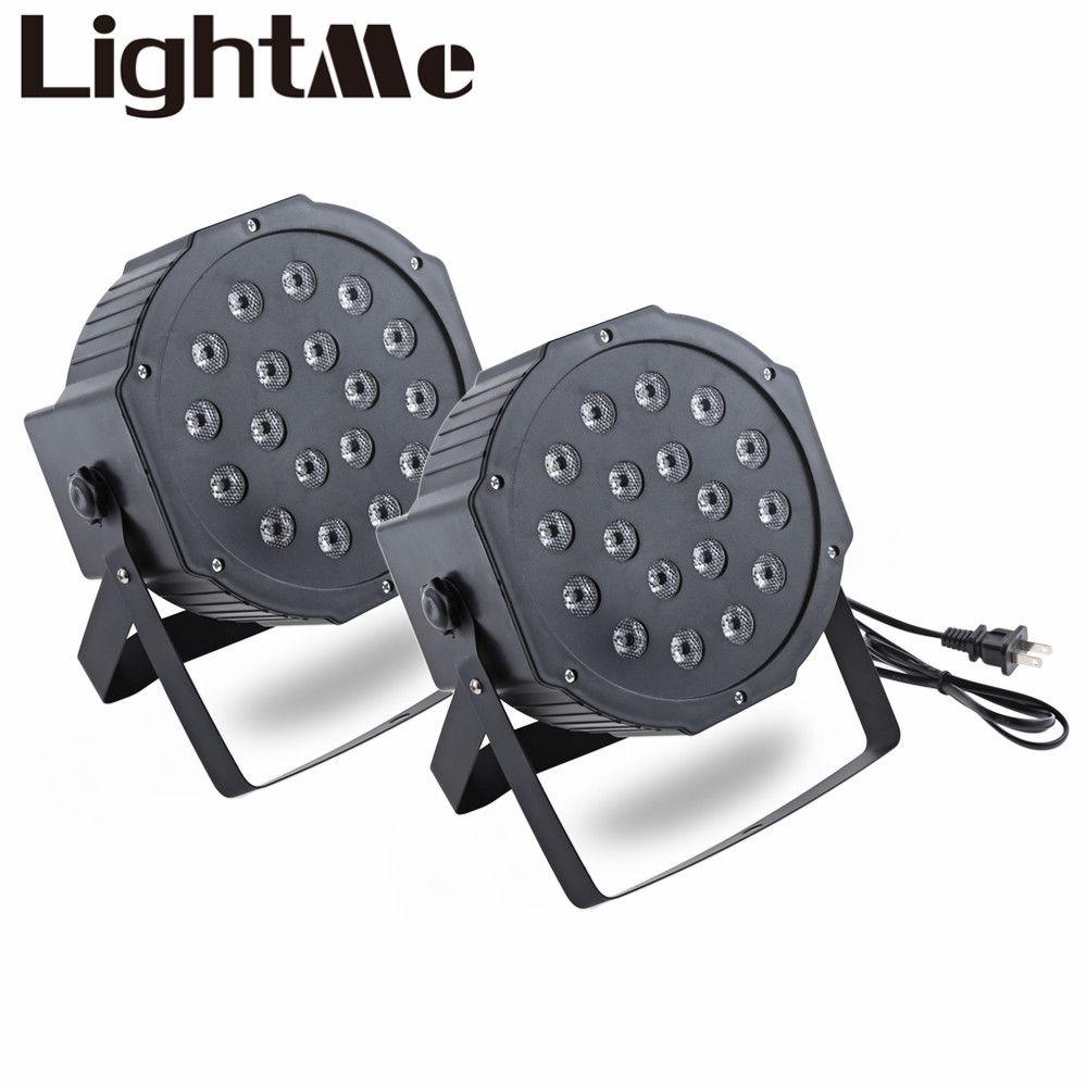 2 unids Nueva Etapa Profesional LLEVÓ Luces RGB LED PAR DMX Etapa Efecto de iluminación DMX512 Master-Slave Led Plana para el Partido Del Disco de DJ KTV